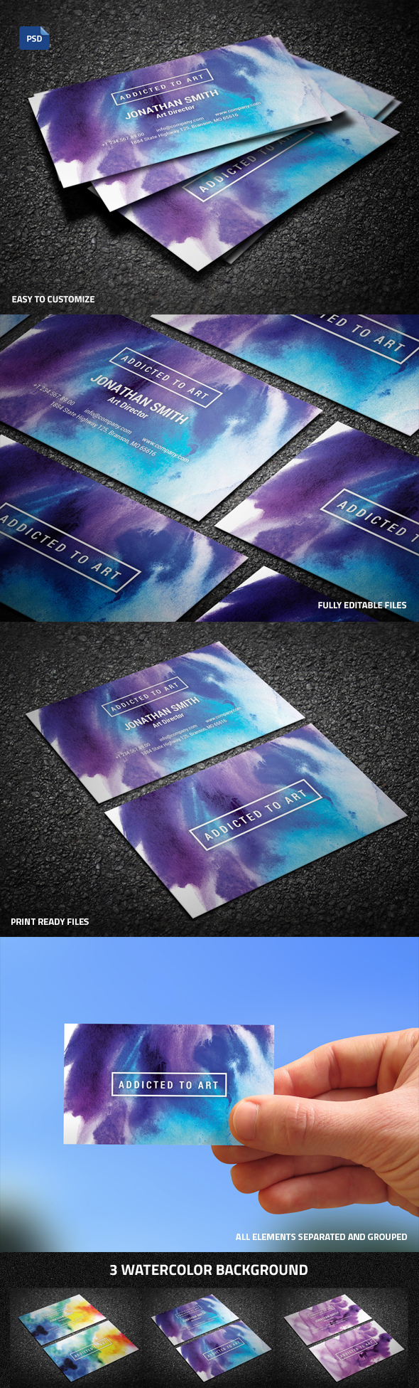 Simple Watercolor Business Card
