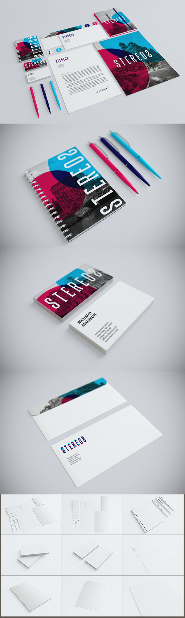 02 Photorealistic Branding : Identity : Stationary Mock-up.