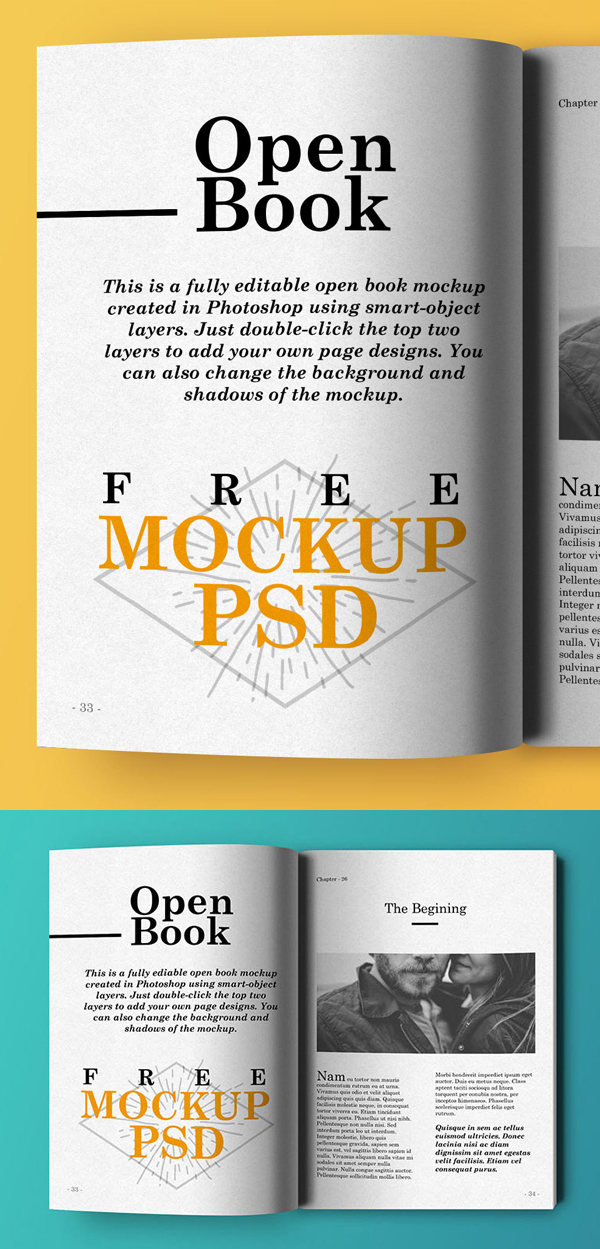 05 Free Open Book Mockup PSD