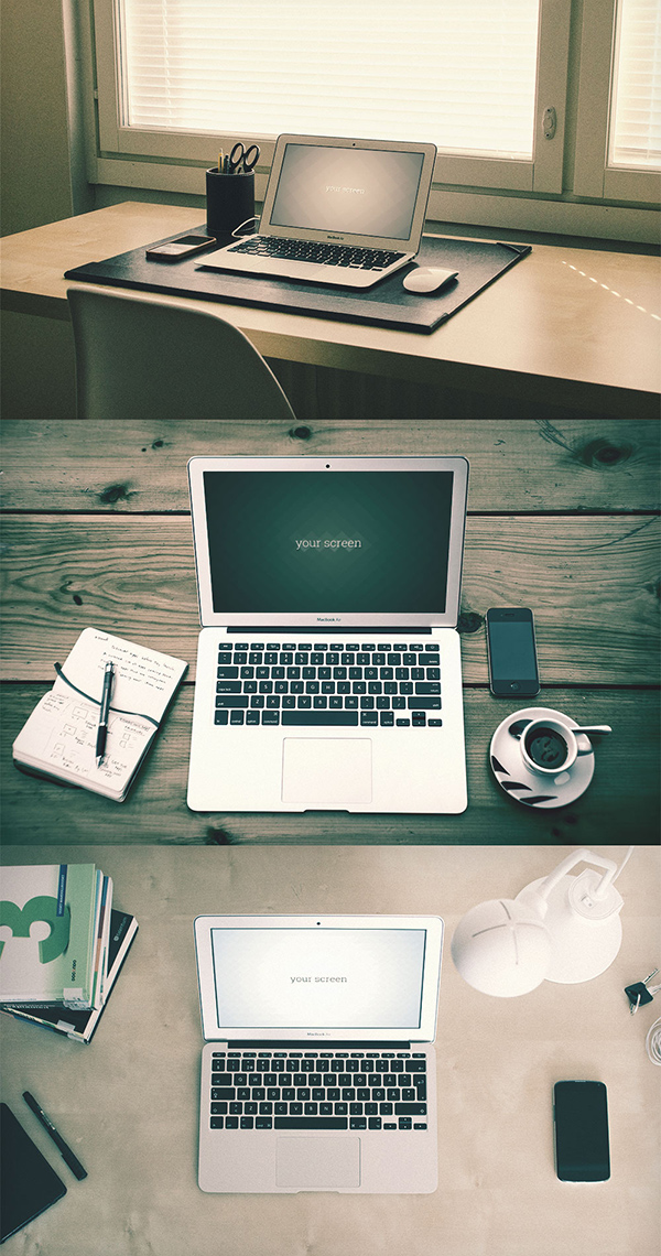 10 Macbook Air hipster Mockups