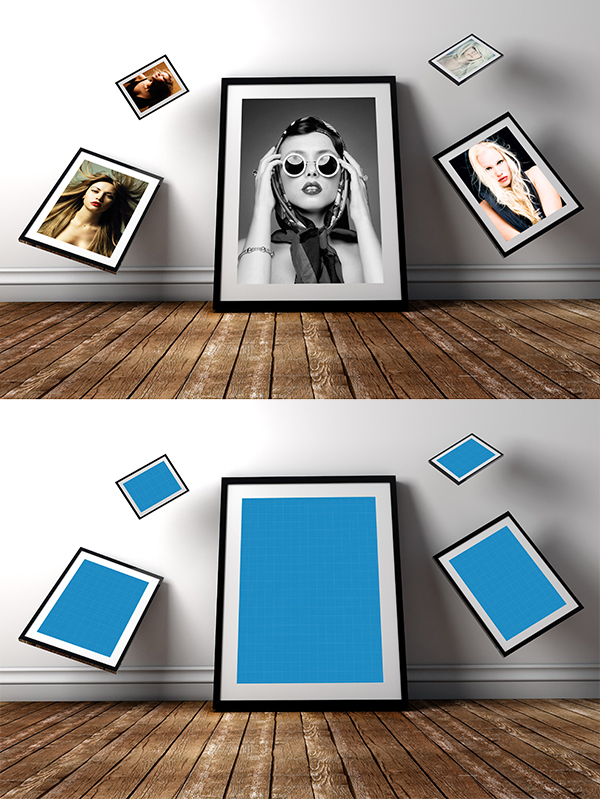13 Free Gravity Photo Frame PSD Mockup