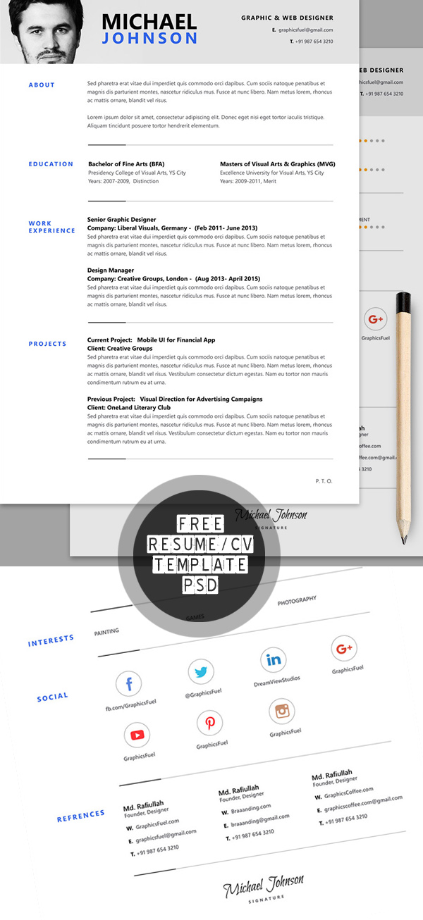 13 Free Resume : CV PSD Template