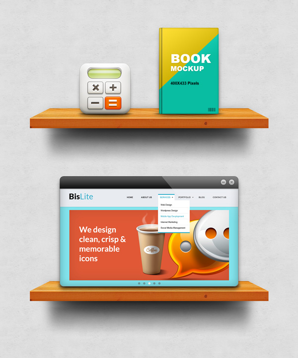 24 Free Wooden Shelf Display Mockup