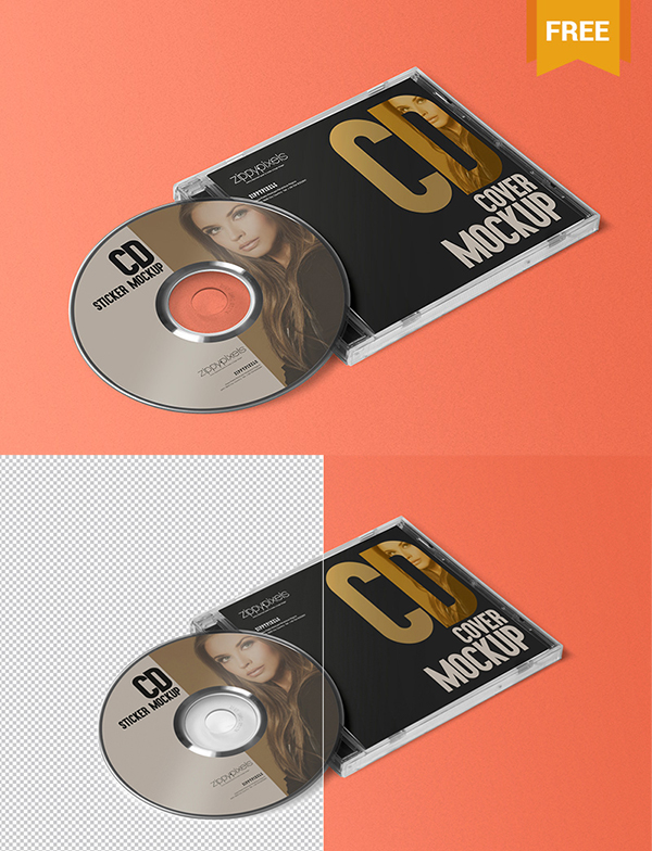 28 Free CD Jewel Case & Label Sticker Mockup