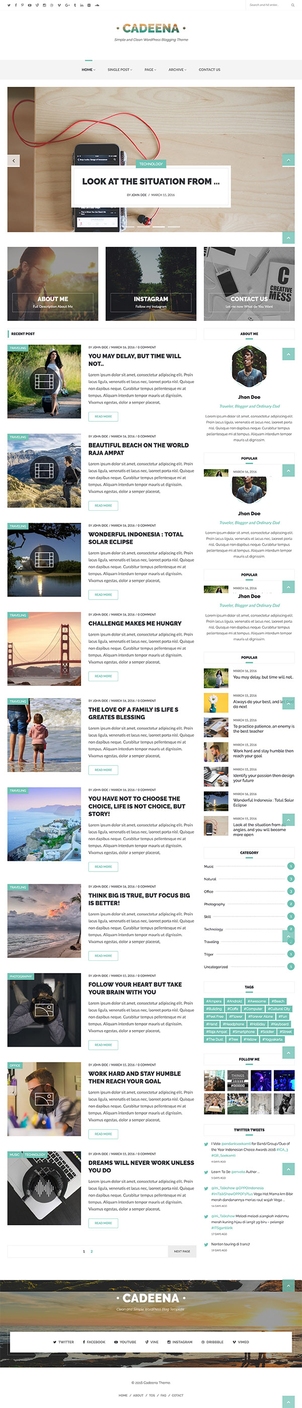 05 Cadeena - Simple and Clean WordPress Blogging Theme
