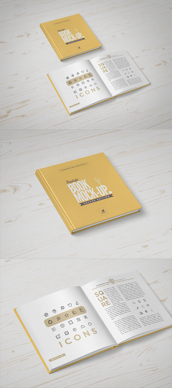 10 Square Book Mock-Up