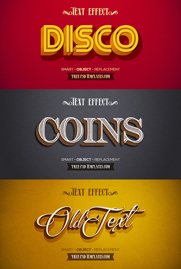 12 Free Retro Vintage Text Effects PSD