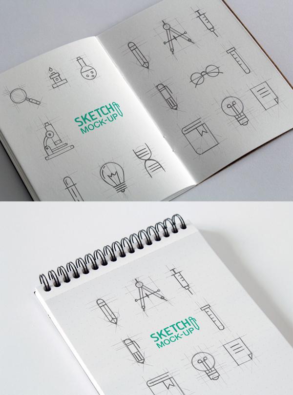 12 Sketchbook MockUps PSD