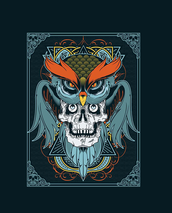 17 owl and skull vector art