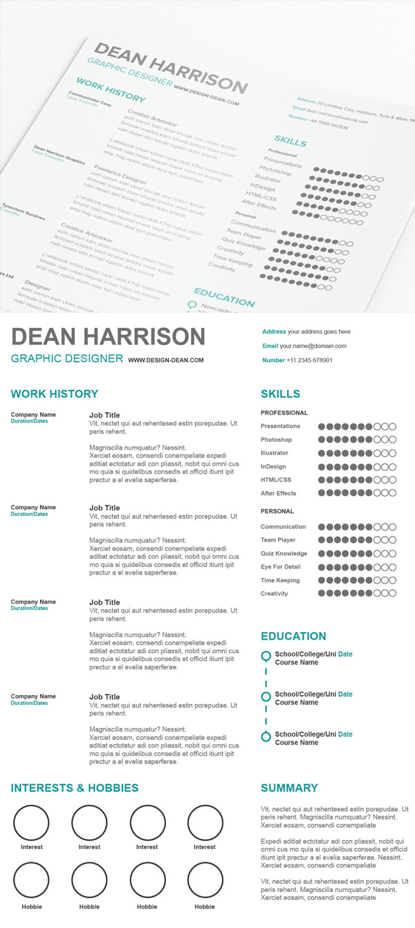 18 Free Simple Resume PSD Template