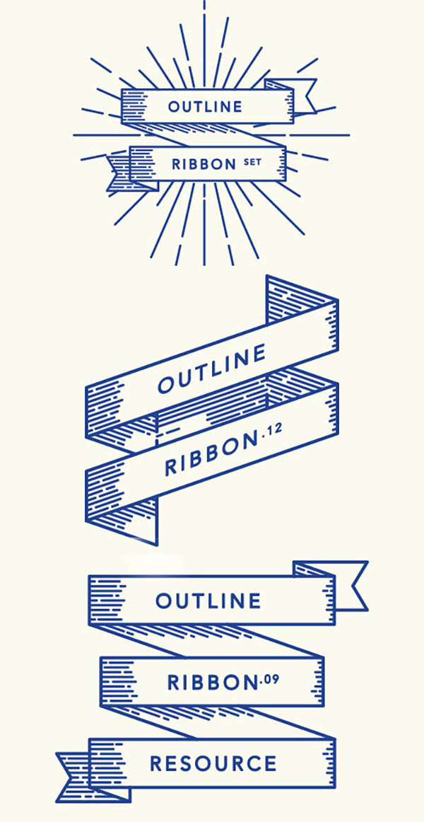 03 Free Retro Outline Ribbon Vector Set