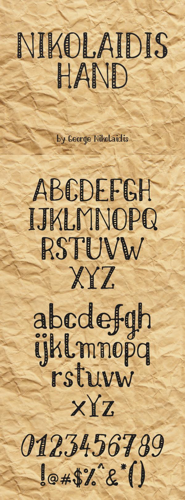 05 Nikolaidis Hand Free Font