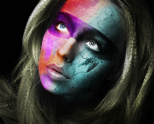 06 Create a Wild Looking Colored Face in Photoshop