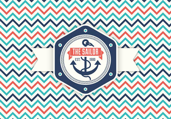 08 Feee Retro Nautical Label Vector Graphic