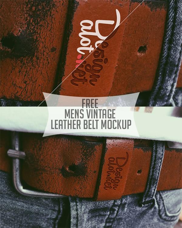 Free Mens Vintage Leather Belt Mockup