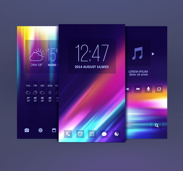 15 Mobile Themes Design Vector