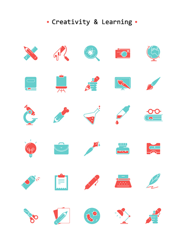 16 Free Art & Learning Icon Set