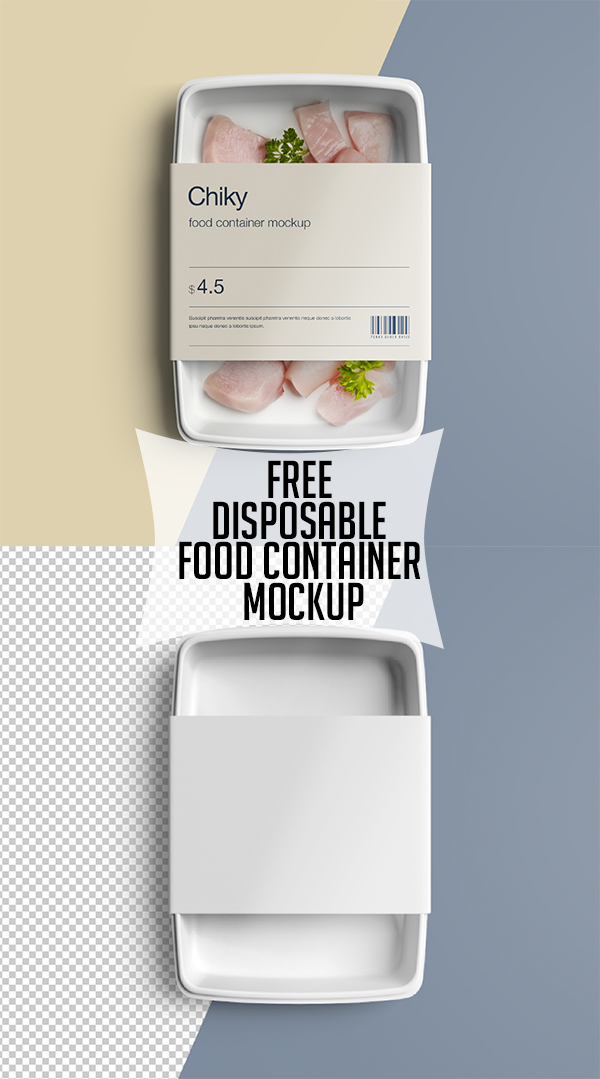 20 Free Disposable Food Container Mockup