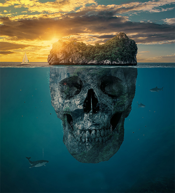 22. Create a Mysterious Skull Manipulation Island in Photoshop CC