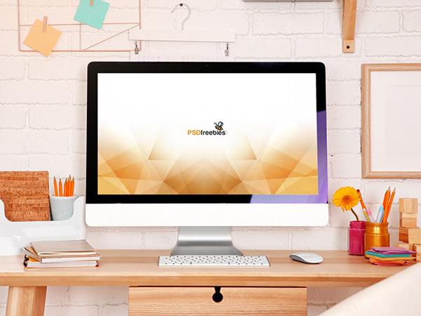 07 Feminine iMac Workstation Mockup