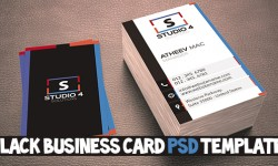 Free Black Business Card PSD Template