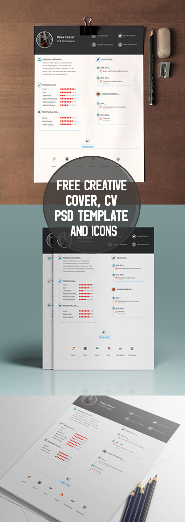 03 Free Creative Cover, CV PSD Template and Icons