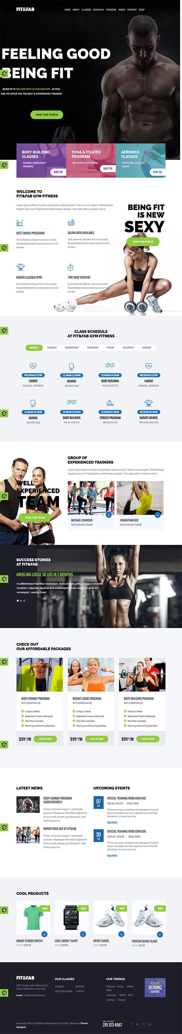 07 Fit & Fab - Aerobic, Gym and Fitness WordPress Theme
