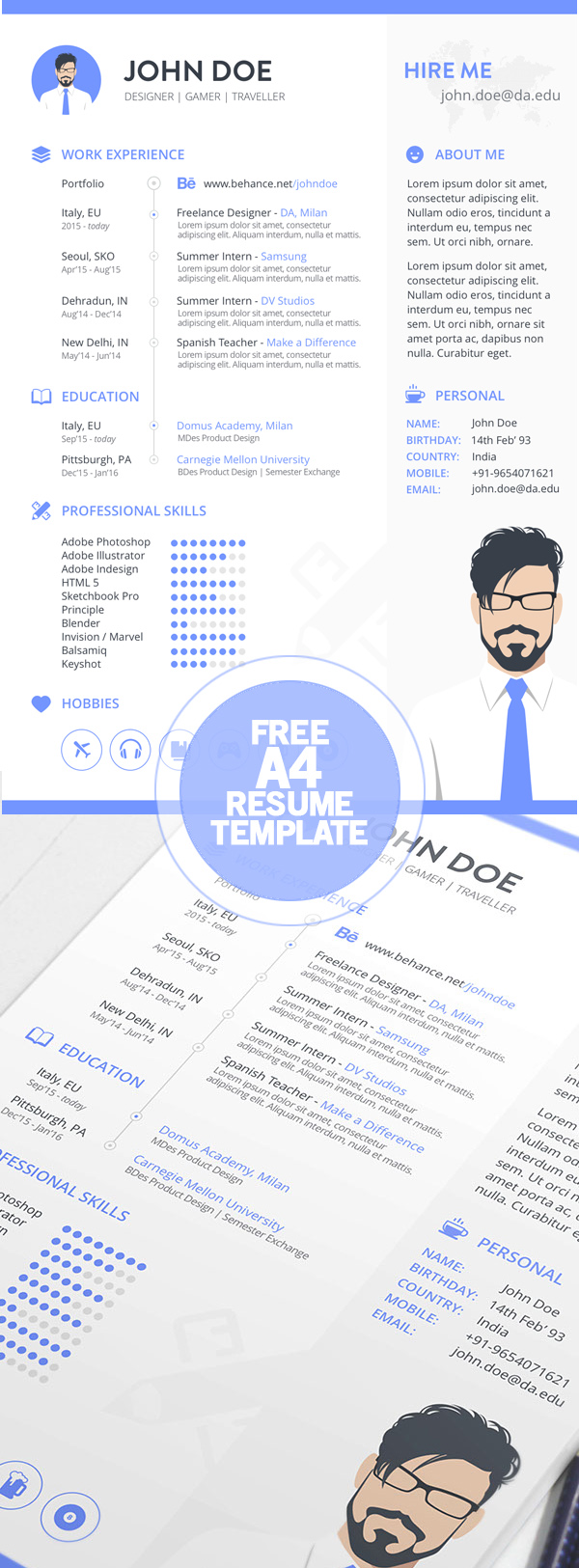 11 Free A4 Resume Template