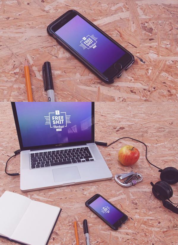 12 Free Hi-Res iPhone & MacBook mockups