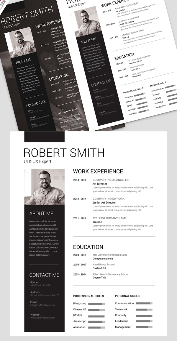 14 Simple and Clean Resume Free PSD Template