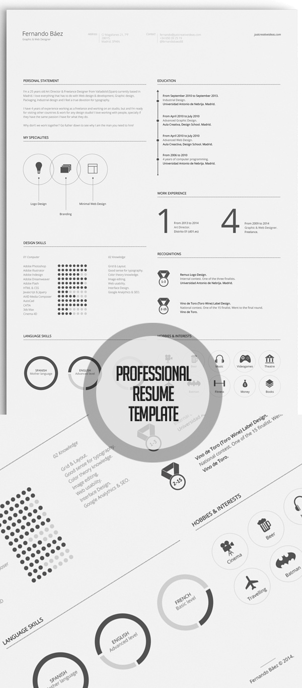 15 Free Resume Template PSD Download