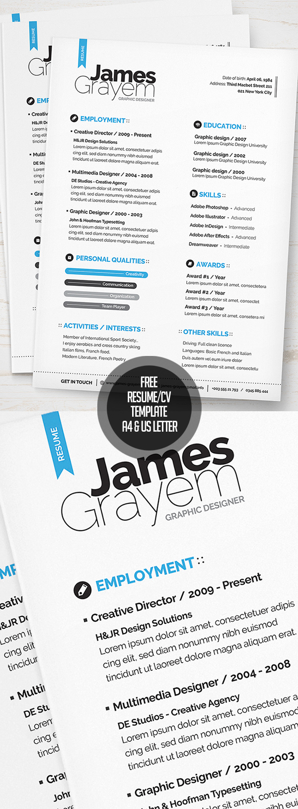 18 Free Resume : CV Template (A4 & US letter) PSD