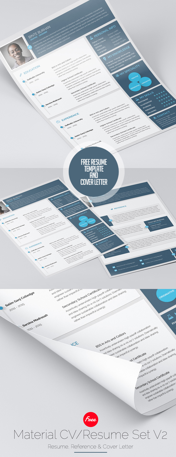 19 Material Style Free Resume Template & Cover Letter