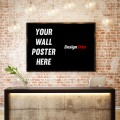 3D illustration of poster frame template, workspace mock up, bac