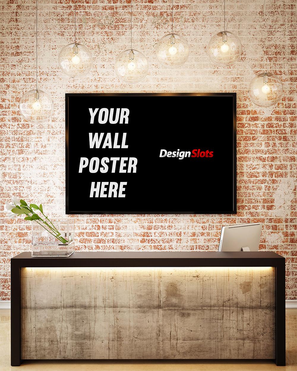 3D illustration of poster frame template, workspace mock up, bac