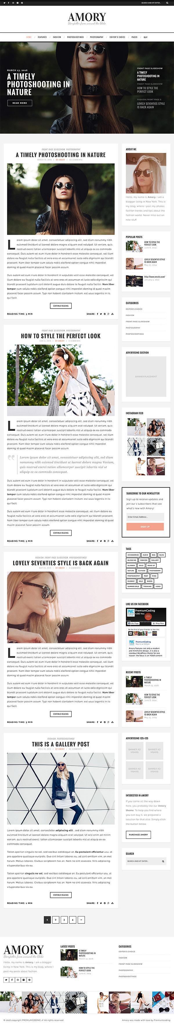 01 Amory - Premium WordPress Blog Theme
