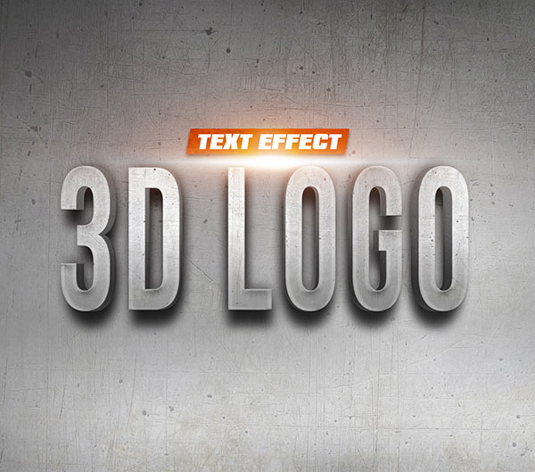 02 3D Logo On Wall Text Effect
