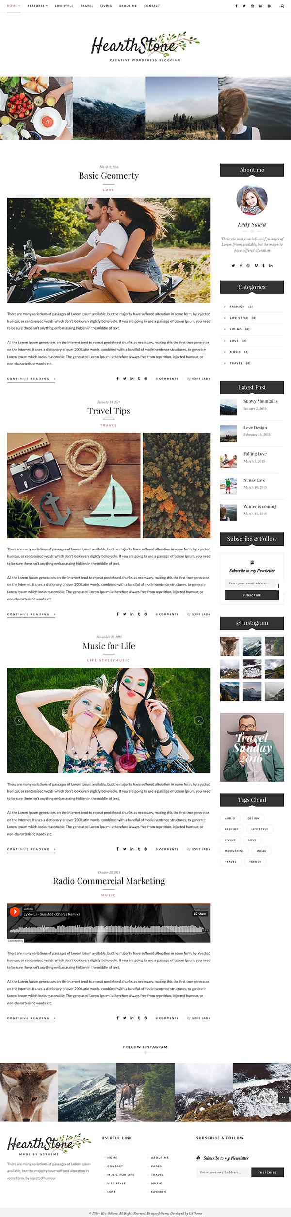 11 HearthStone - Responsive WordPress Blog Theme