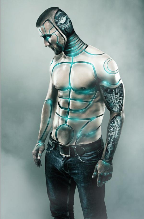 13  Futuristic Male Cyborg Photo Manipulation Tutorial