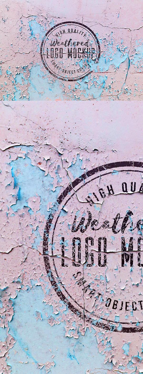 14 Weathered Logo Mockup