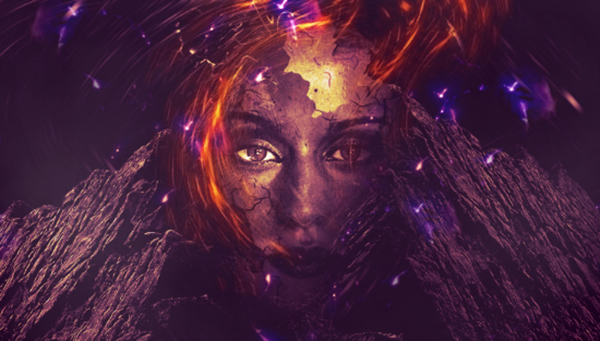 15 Create Rocky Face Manipulation With Abstract Lighting Effect In Photoshop