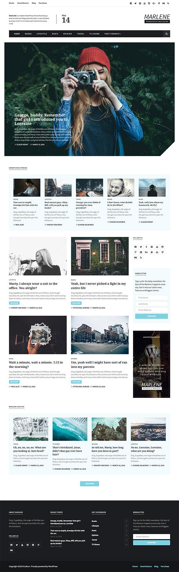 17 Marlene - Magazine and Personal Blog WordPress Theme