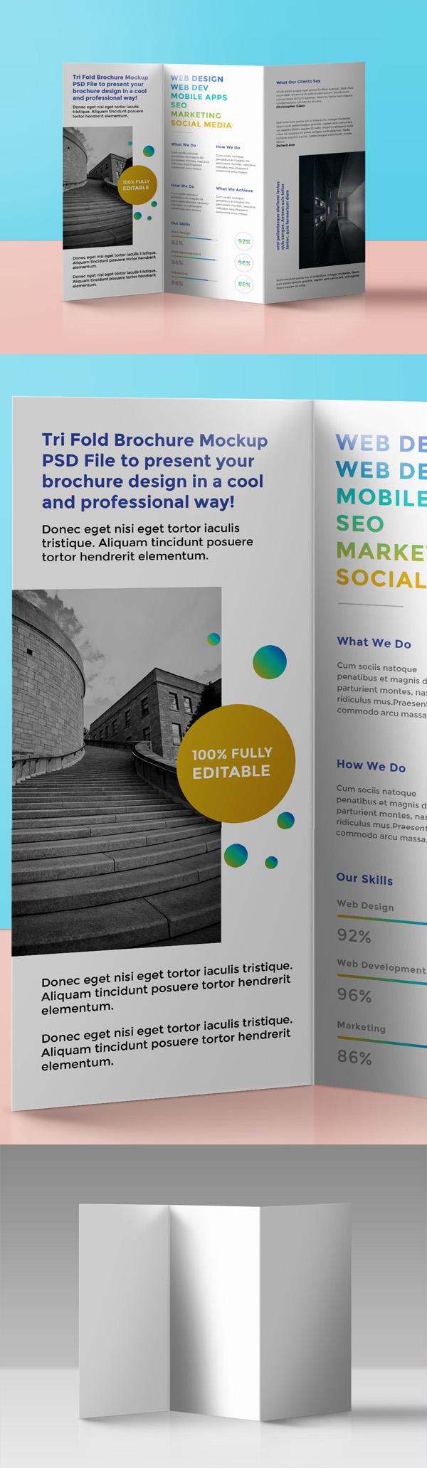 18 Free Tri Fold Brochure Mockup PSD