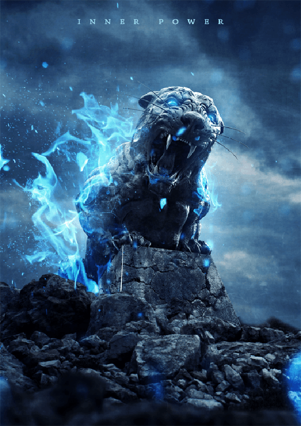 19 How to Create an Intense Composite of a Stone Tiger with Blue Flames