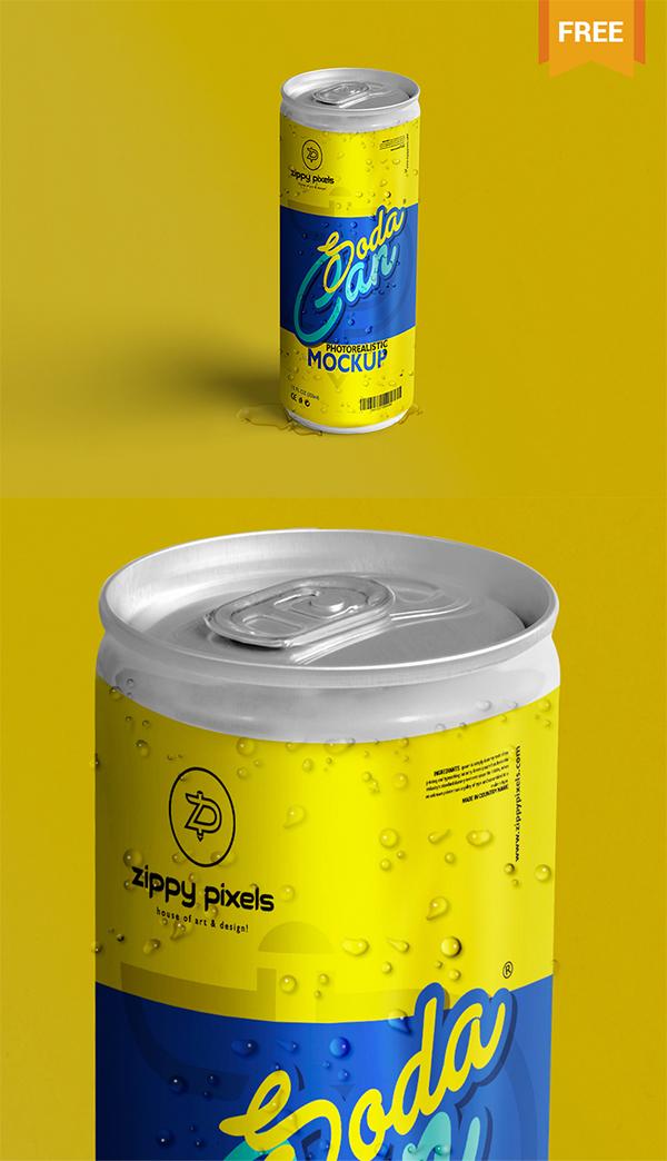 21 Soda Can PSD Mockup