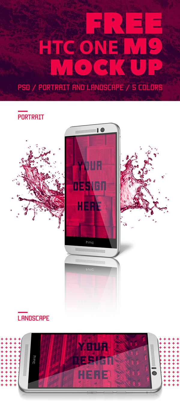 23 Free HTC One M9 Mockup PSD Templates