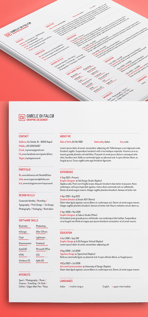 25 Free Clean Resume Template (3 Colors)