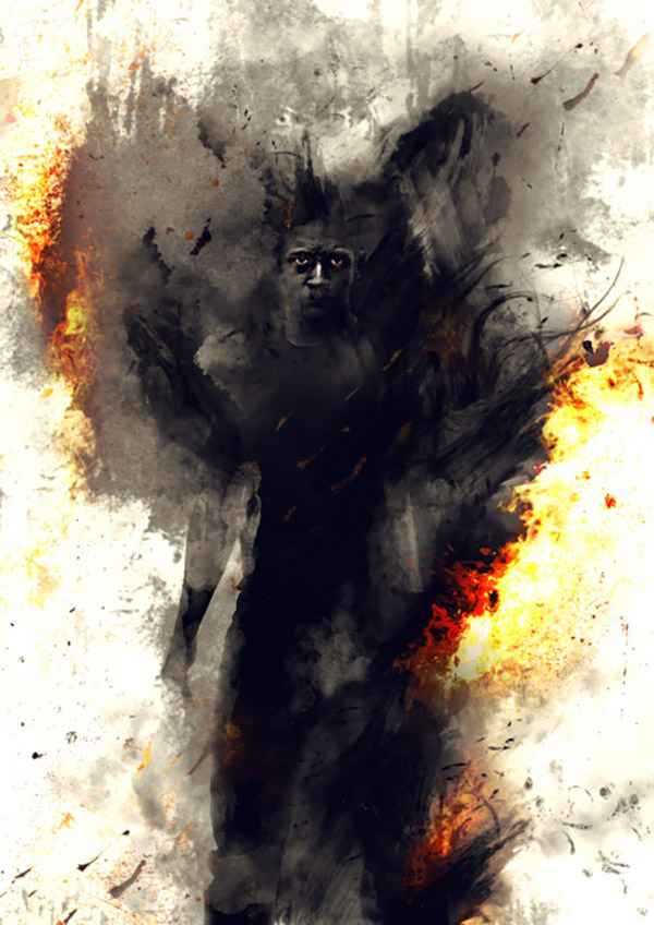"""27 Photo Manipulation And Digital Painting Of A Surreal """"Man On Fire"""" In Photoshop"""
