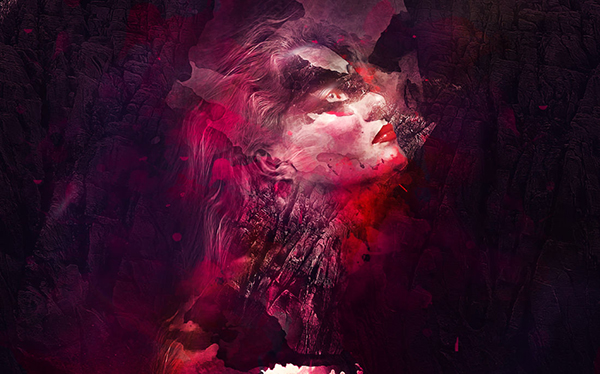35 Photo Manipulation Using Watercolor Brushes And Rock Pattern In Photoshop