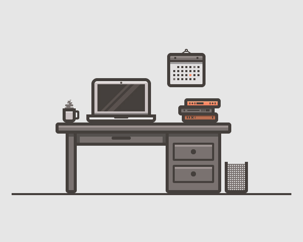 06 Desk Scenery Illustration Vector Graphics